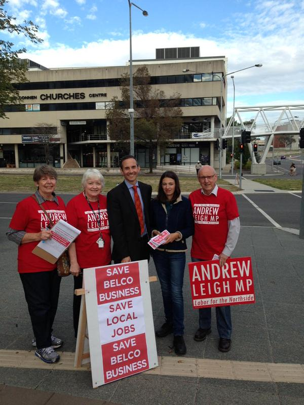 Handing out #belcojobs petitions with Andrew Leigh and campaign team