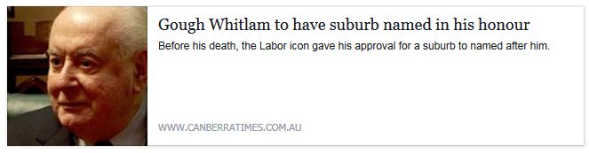 Canberra to have suburb of Whitlam