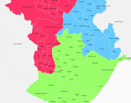 Suggested redistribution of Federal electoral divisions in the ACT